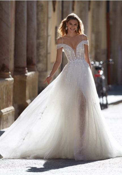 Soft Tulle Wedding Dress With Thin Straps