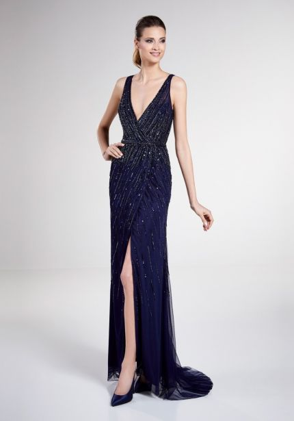 Embellished Navy Blue Gown with Slit