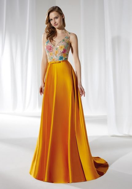 Floral Embellished Satin Gown