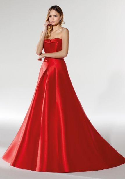 Strapless Red Mikado Gown