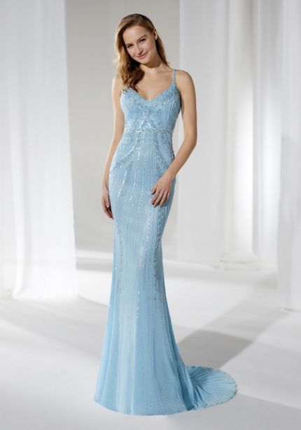 Embellished Light Blue Tulle Gown