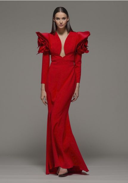 Mermaid Red Gown With Rosette Sleeves