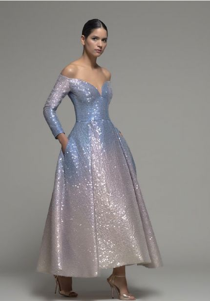 Ombre Effect Sequined Gown