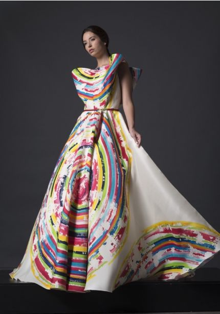 Circular Print Structured Ball Gown