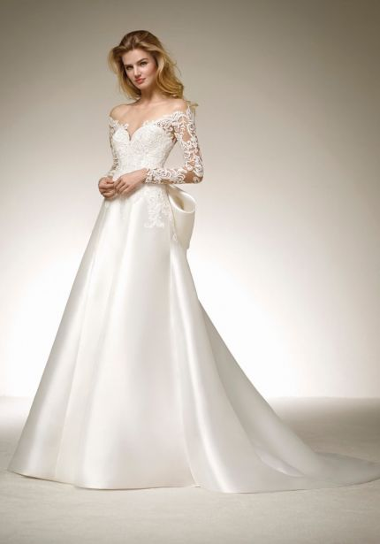 Mikado Wedding Dress with Big Bow