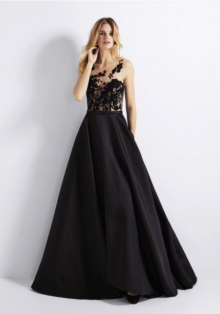 Tattoo-Effect Bodice Black Mikado Ball Gown