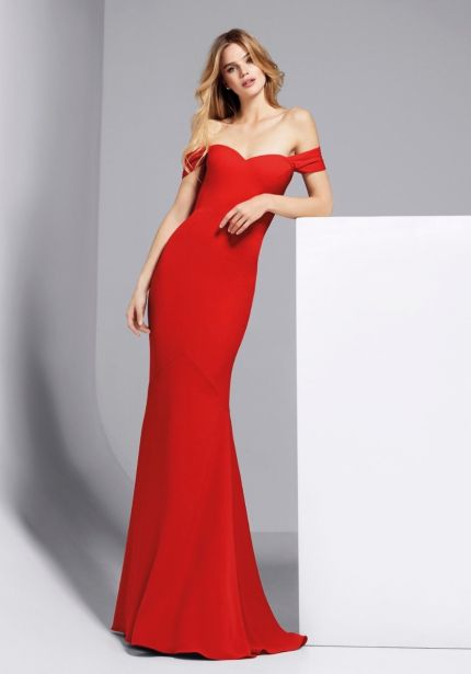 Off-Shoulder Red Crepe Gown
