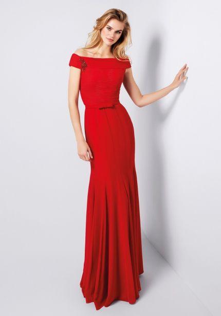 Beaded Red Chiffon Dress