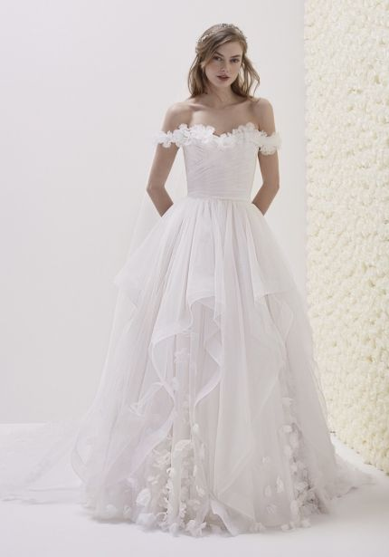 Floral Blossom Off-Shoulder Ball Gown