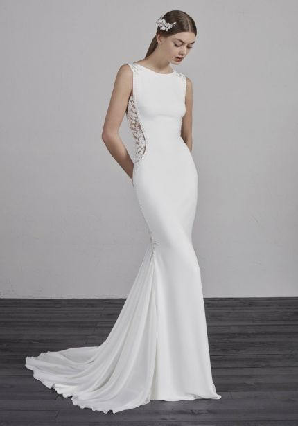 Crepe Wedding Dress with Open Back