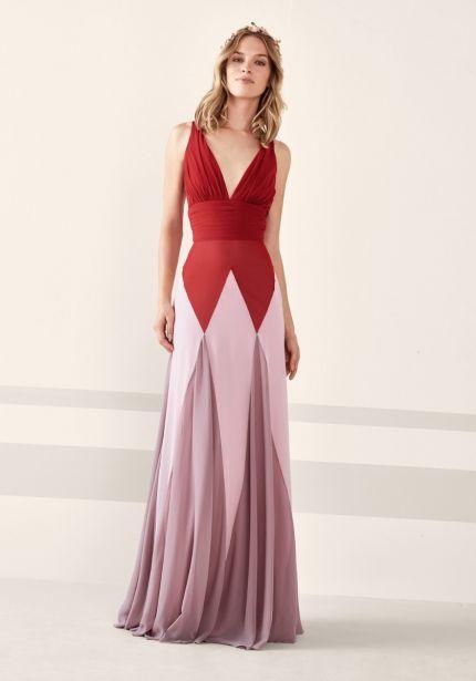 Tricolour Chiffon Dress