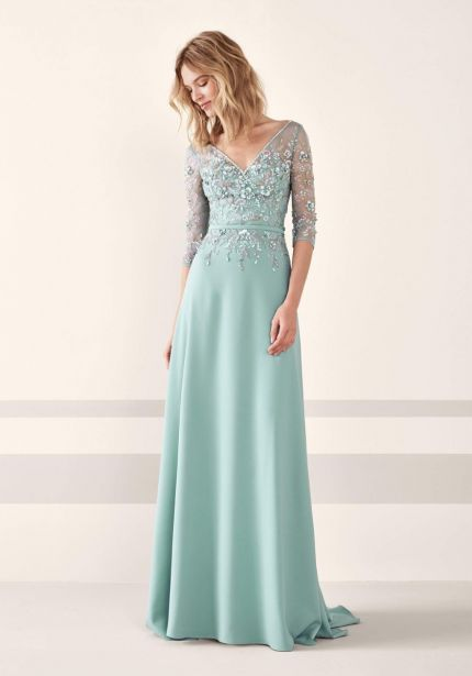 Floral Beaded Crepe Gown
