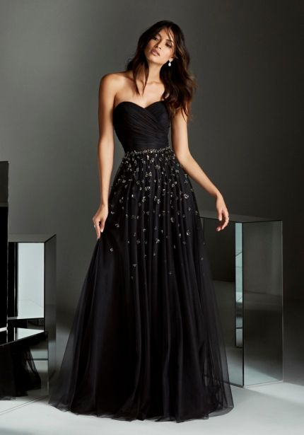 Silver Beaded Black Tulle Gown