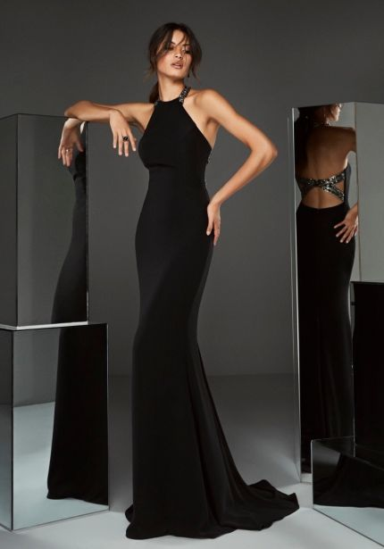 Crepe Gown with Keyhole Back