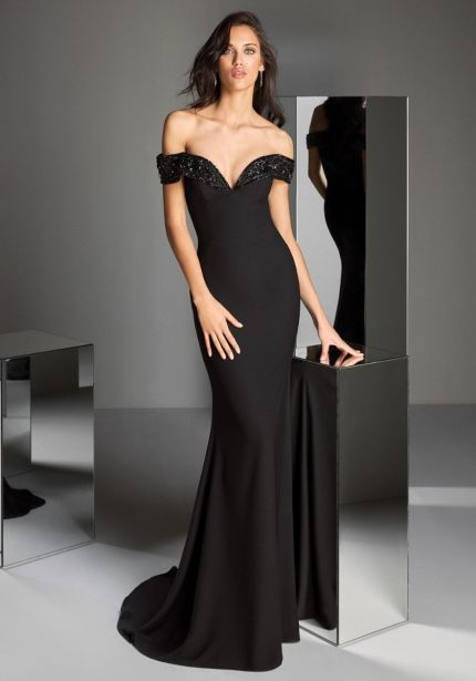 Beaded Off-Shoulder Black Crepe Gown