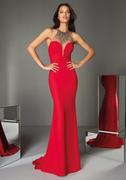 Beaded Red Crepe Gown with Open Back