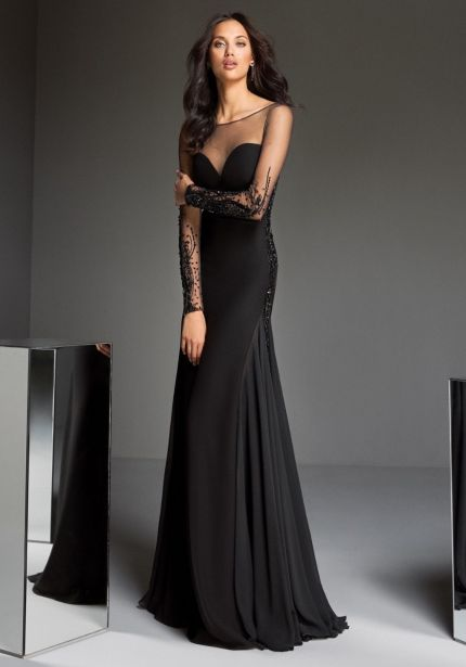 Beaded Long Sleeves Black Crepe Gown