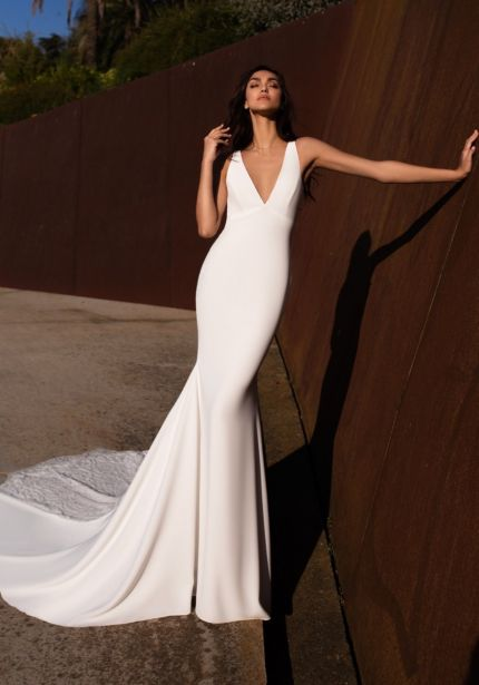 Beaded Keyhole Back Crepe Wedding Dress