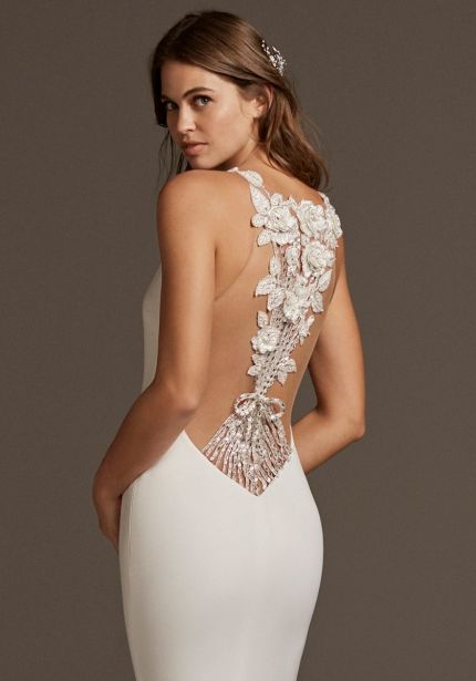 Crepe Wedding Dress with Beaded Back