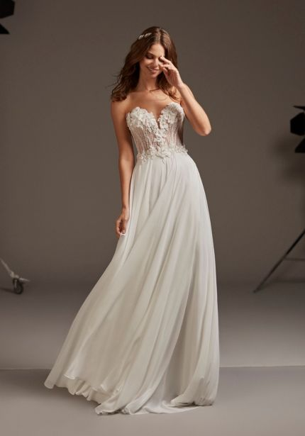 Embellished Flowers Chiffon Wedding Dress