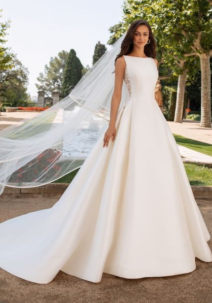 Mikado Ball Gown with Sheer Back