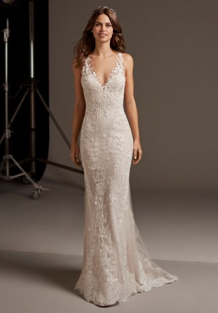 Tattoo-Effect Back Lace Wedding Dress