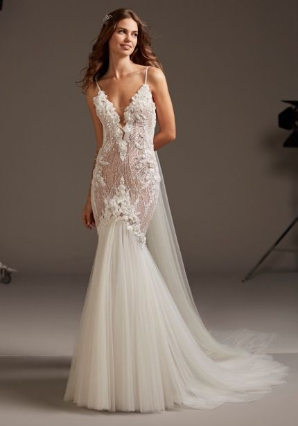 Heavily Beaded Wedding Dress with Sheer Back