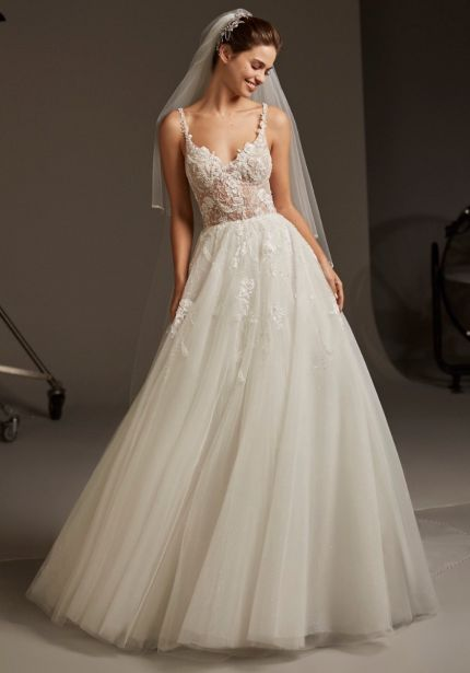 Embellished Tulle Wedding Dress with Straps