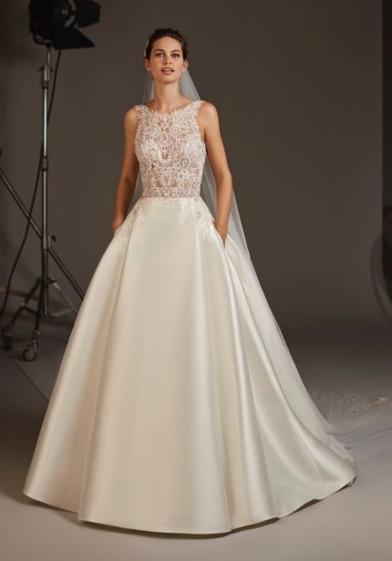 Embellished Mikado Ball Gown with Open Back