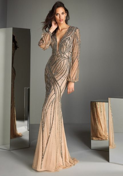 Heavily Beaded Long Sleeves Nude Tulle Gown
