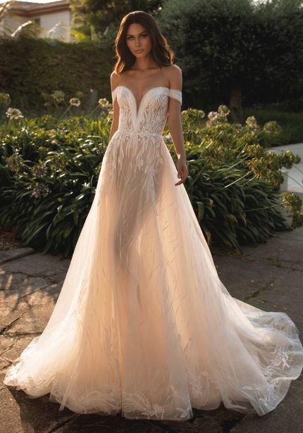 Beaded Sheer Tulle Wedding Dress