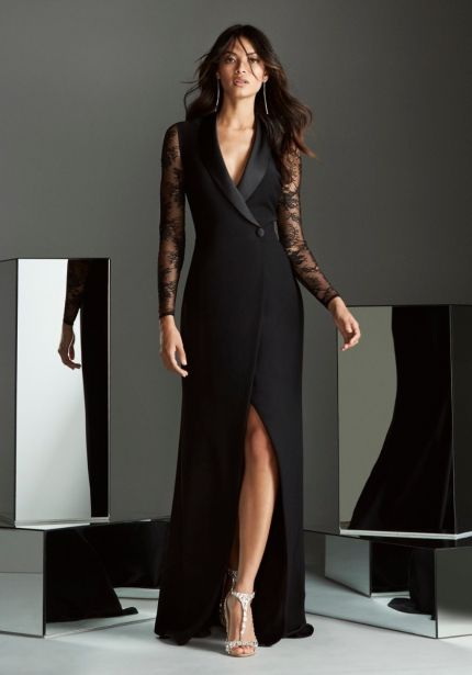 Tuxedo-Style Long Sleeves Crepe Gown