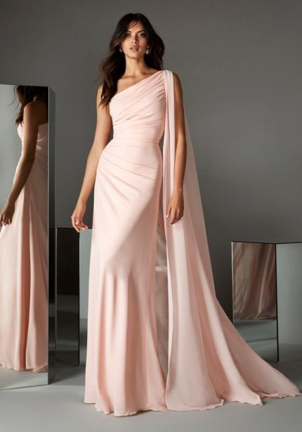 One-Shoulder Draped Gown