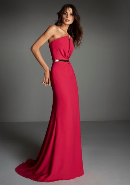 Strapless Red Crepe Gown