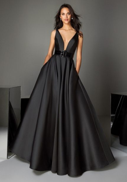 Black Mikado Ball Gown with Open Back