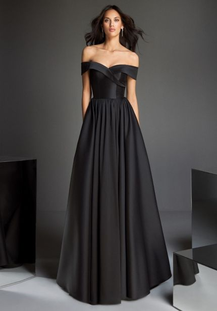 Off-Shoulder Black Mikado Ball Gown