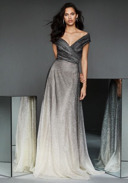 Glittering Ombre Effect Grey Tulle Gown
