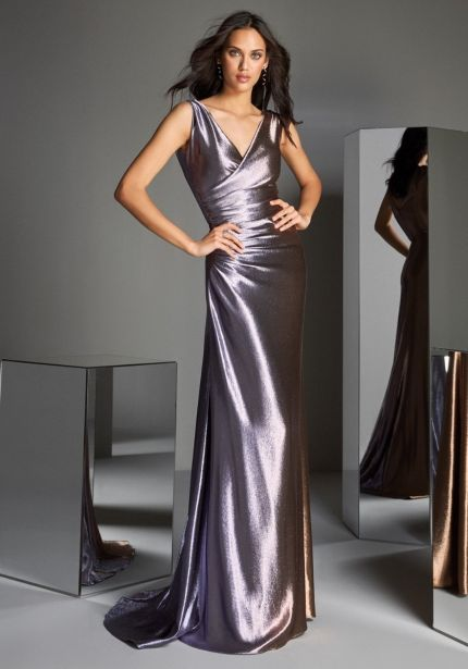 Metallic Ombre Effect Draped Gown