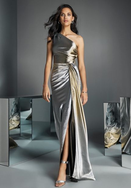 Ombre Effect Metallic Draped Gown