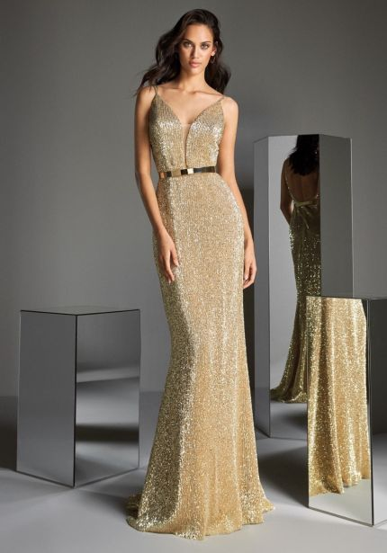 Sequined Mermaid Gown with Open Back