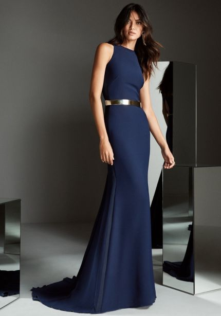 Navy Blue Crepe Gown with Keyhole Back