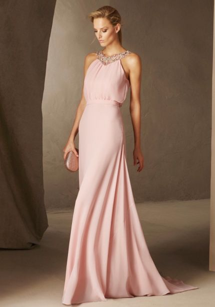 Embellished Pink Chiffon Gown