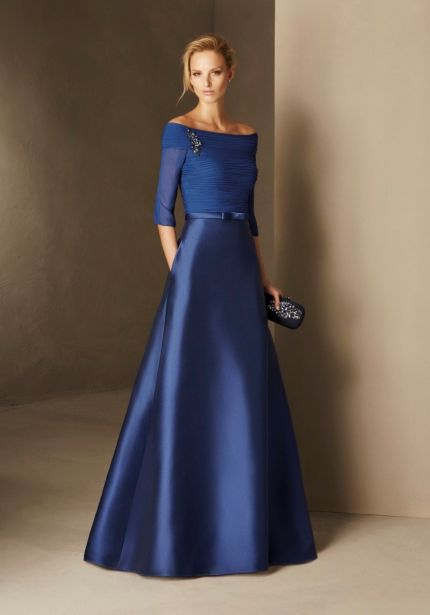 Mikado Flared Gown with 3/4 Sleeves