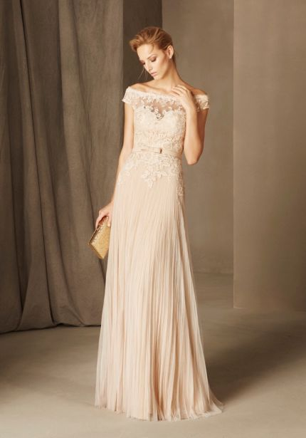 Embroidered Beige Tulle Gown