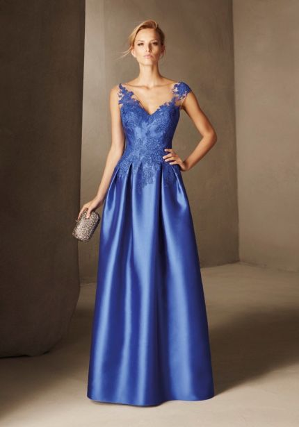 Embroidered Royal Blue Mikado Gown