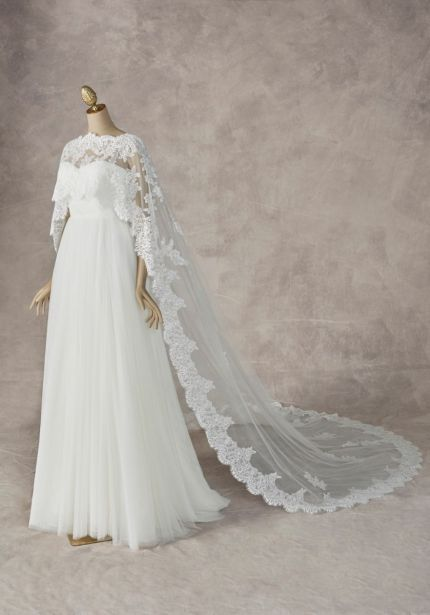 Lace Embroidered Bridal Tulle Cape