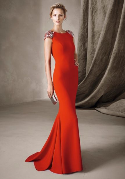 Embellished Red Crepe Gown
