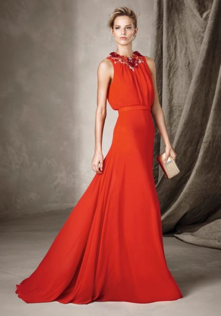 Floral Embellished Red Gauze Gown