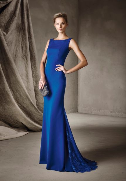 Blue Crepe Gown with Sheer Back