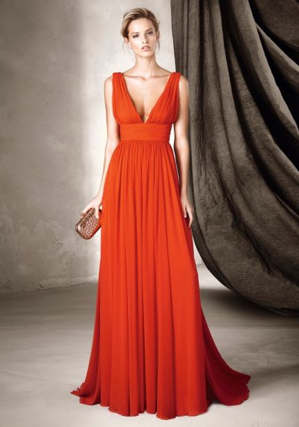 Plunging Neckline Red Chiffon Gown